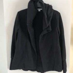 James Peres black French terry cardigan hoodie S 1